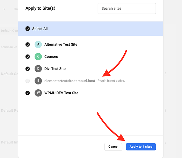 Where you click to apply configs to sites.