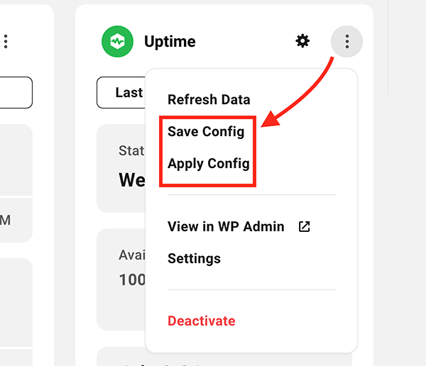 Where you save and apply configs.