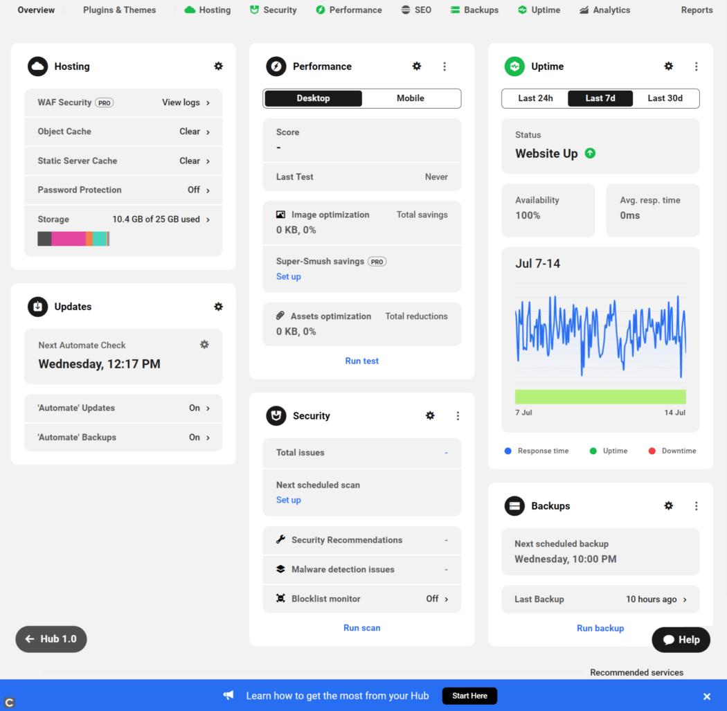 Hub 2.0 site panel