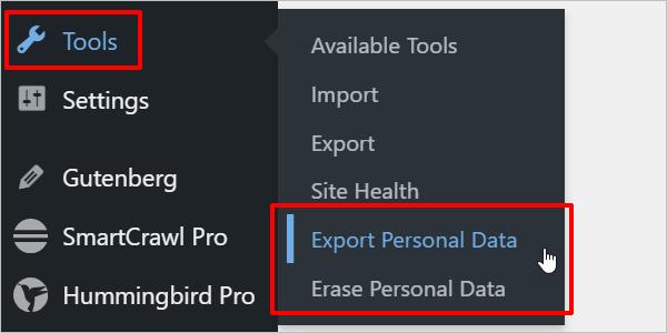 WordPress Tools menu - data features