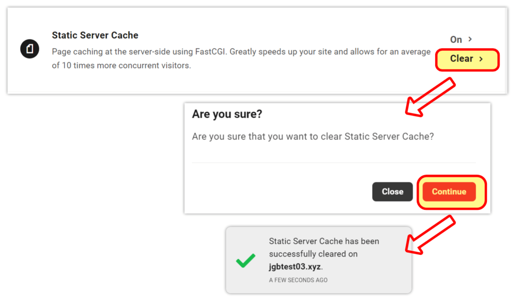 Clear static server cache