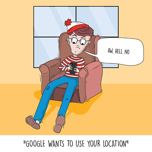Waldo on a smartphone with Google wanting to use his location.