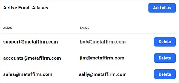 Email aliases