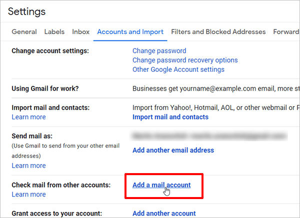 Gmail Settings - Add email account