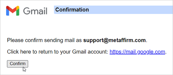 Gmail confirmation link.