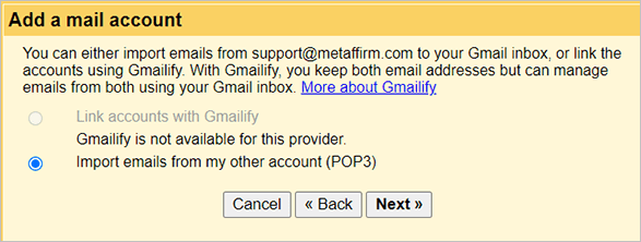 Gmail email import options