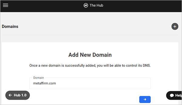 The Hub - DNS - Add New Domain screen.