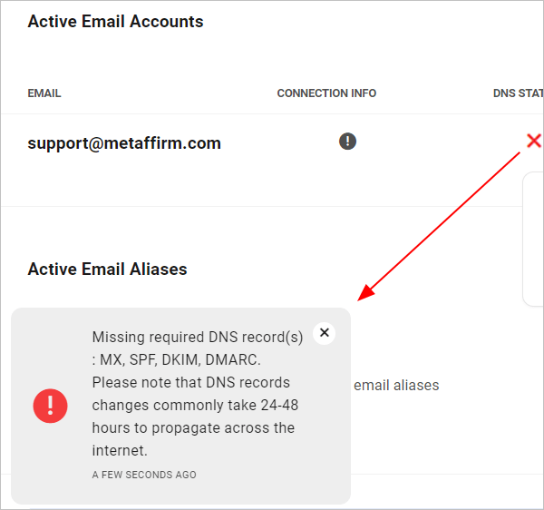 Missing email DNS records warning notice.