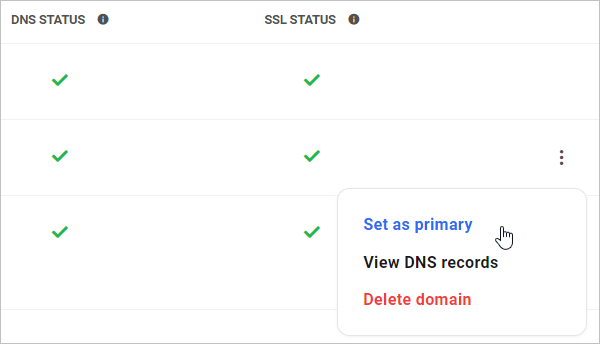 Set domain name as primary.