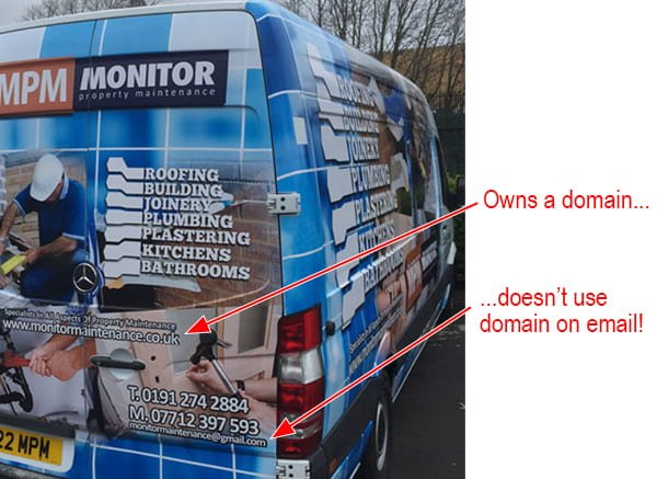 Vehicle advertising business domain and Gmail address.