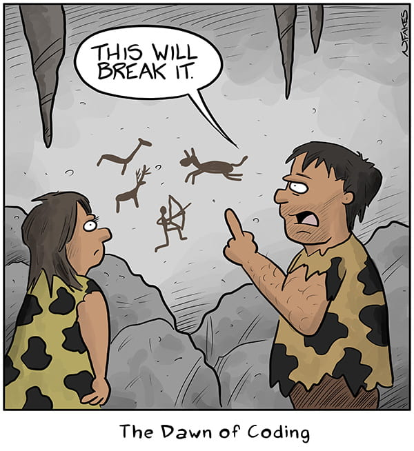 Funny image of cavemen talking about the dawn of coding.