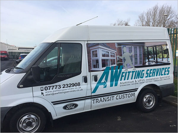 Vehicle advertising business using domain and email address.