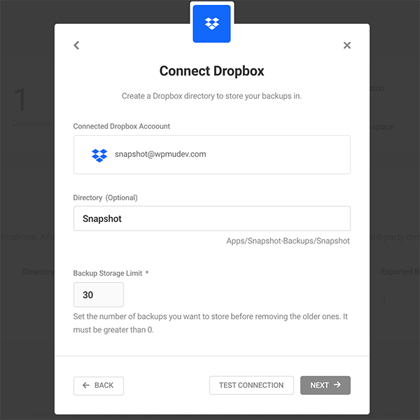 Where you connect to Dropbox.
