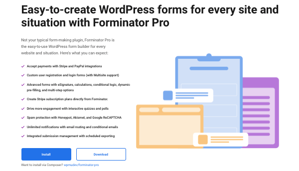 a preview of our WordPress forms builder, Forminator