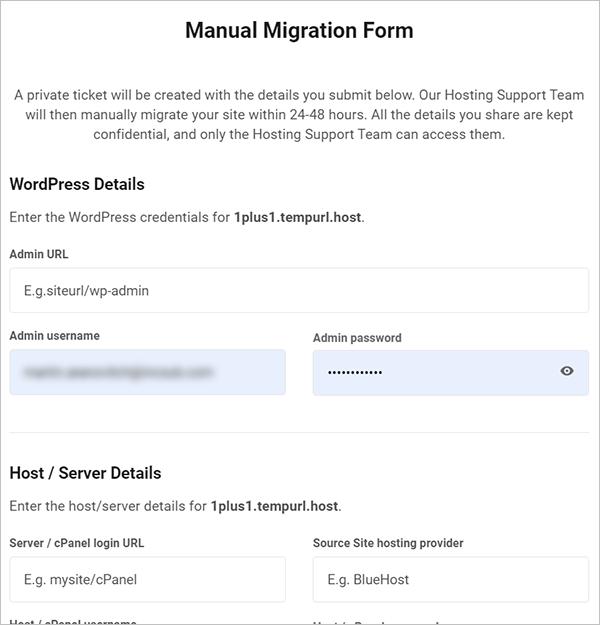 Manual Migration Form
