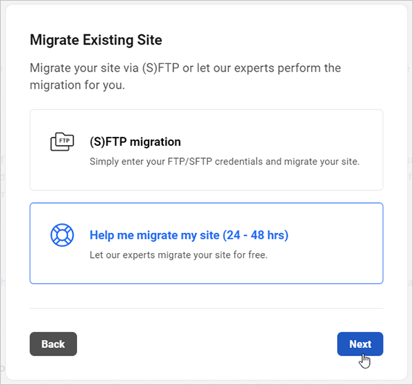 Migrate Existing Site screen - Assisted manual migration option