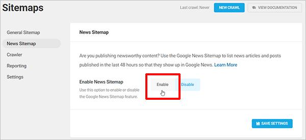 SmartCrawl Google News Sitemap screen.