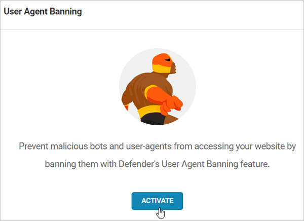 Activate Defender User Agent Banning