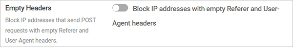 Defender User Agent Banning - Empty Headers