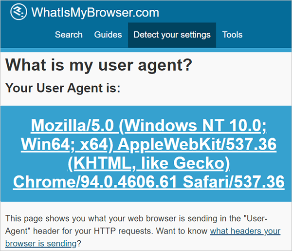 User Agent Web Browser