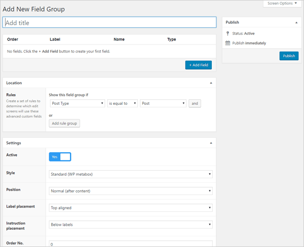 Advanced Custom Fields Add New Field Group.