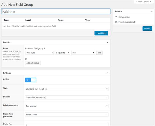 Advanced Custom Fields WordPress plugin - Add New Field screen.