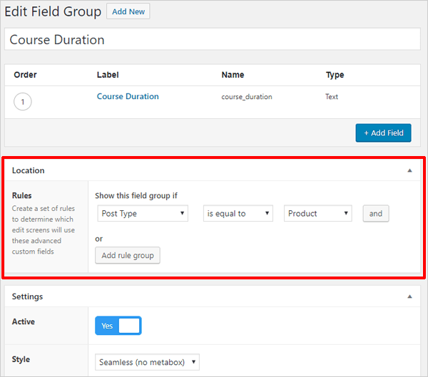 Advanced Custom Fields - Edit Field Location.