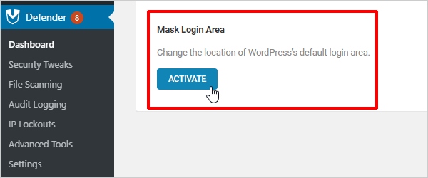 Activate Mask Login Area - Defender WordPress Security Plugin