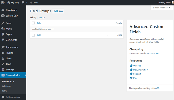 Advanced Custom Fields WordPress plugin screen.
