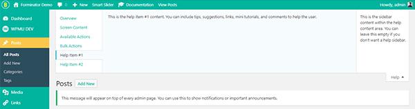 WordPress Dashboard customized with Branda