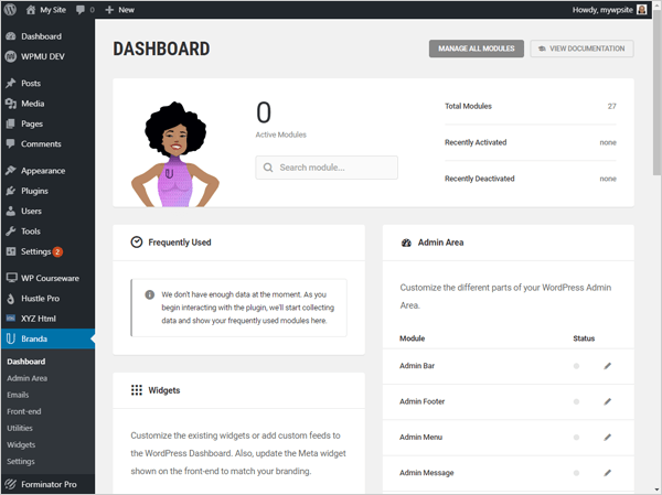Branda WordPress white label plugin dashboard.