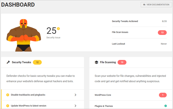 Defender WordPress security plugin dashboard.
