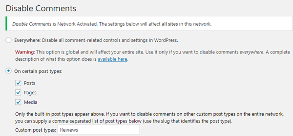 Disable Comments WordPress plugin