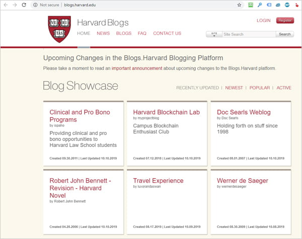 Harvard University Blogs Section