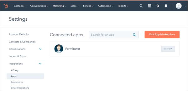 HubSpot integrations screen.
