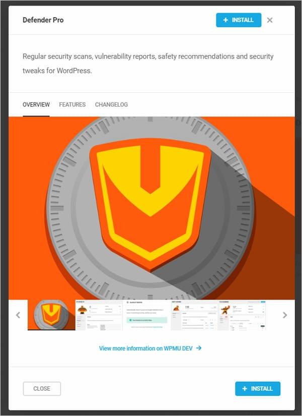 Defender Pro WordPress security plugin installation screen.