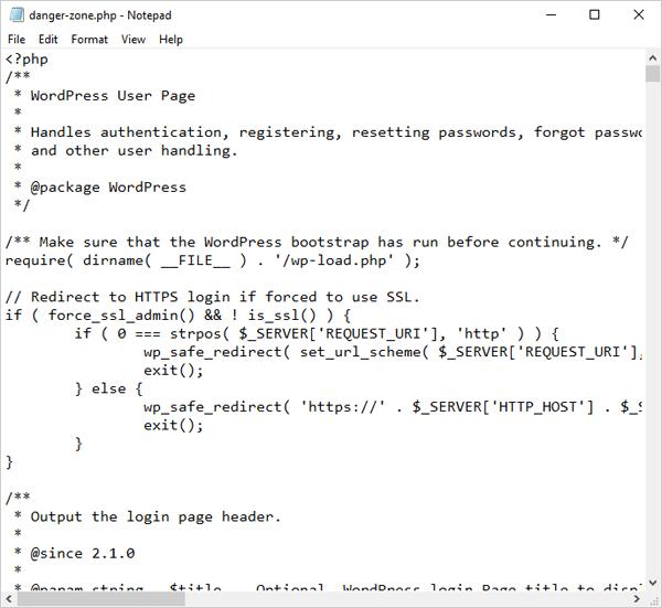 wp-login.php file code renamed.