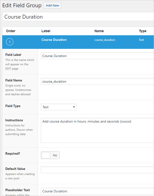 Advanced Custom Fields - sample custom field.