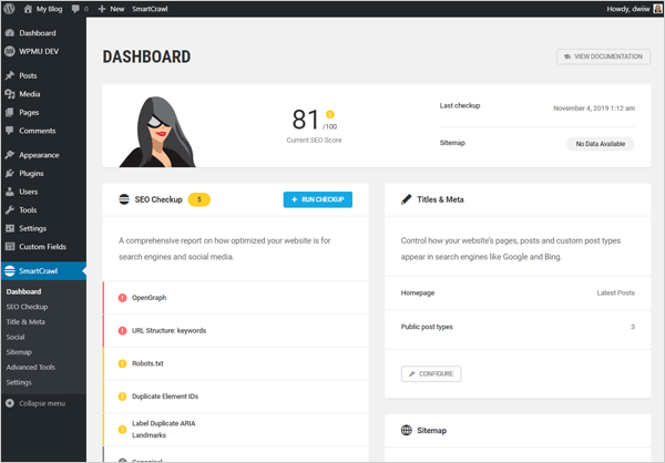 SmartCrawl WordPress SEO plugin dashboard