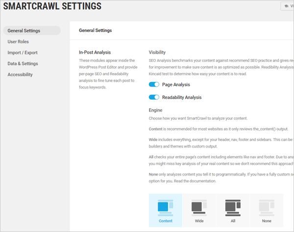 SmartCrawl settings screen.