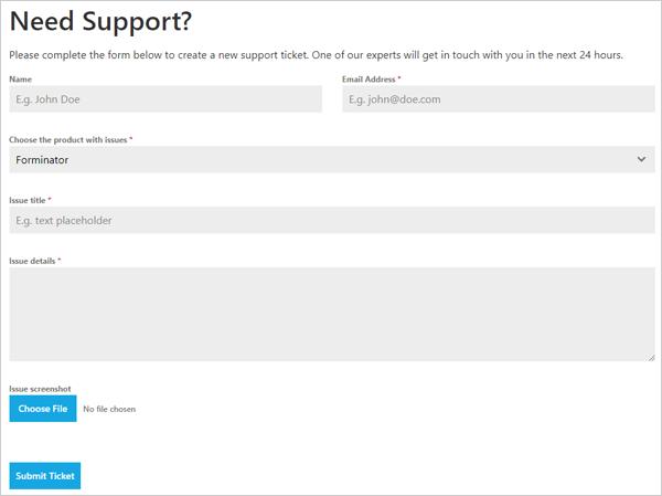 WordPress support ticket system demo.
