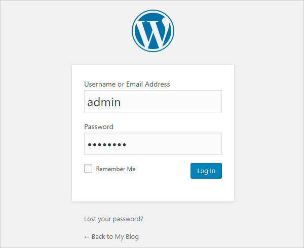 WP login page username admin
