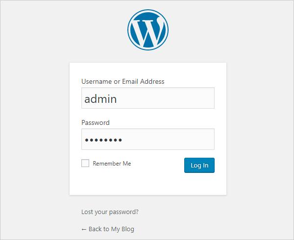 WP login page username admin