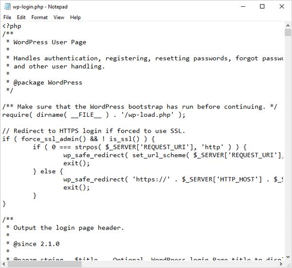 wp-login.php file code