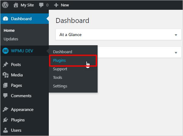 WPMU DEV WordPress menu - add plugins.
