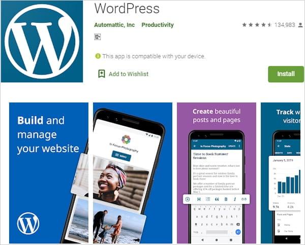 WordPress Mobile App screenshot from Google Play Store.