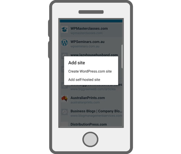 Illustration of mobile device with WordPress Mobile app 'add site' screen.