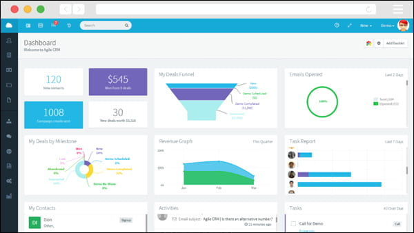 Agile CRM is an all-in-one CRM that lets you automate your sales, marketing, and service in one platform.