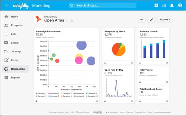 Insightly CRM software lets you manage your pre-sale and post-sale activities inside WordPress.