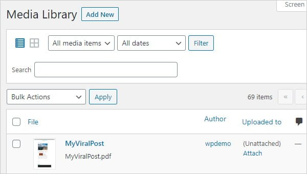Screengrab of PDF file uploaded to WordPress